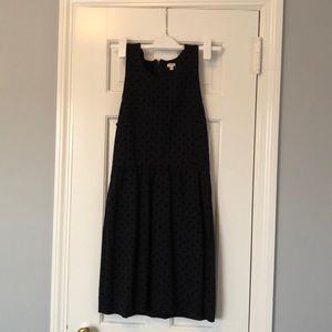 J.crew navy a-line dress with velvet polka dots